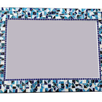 Large Mosaic Wall Mirror in Teal, Black, White, Blue
