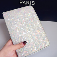 New Handmade White Crystal Bling Stand Leather Cover for ipad Pro,case  for ipad Air 1 2, for ipad  mini