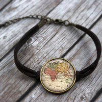 Antique Map Bracelet, Wanderlust Bracelet, Traveler Jewelry