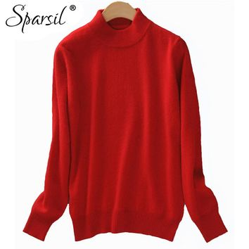 Cashmere Blend Sweater Women Christmas Knitted Sweater Tops Female Long Sleeve Winter Turtleneck Pullovers