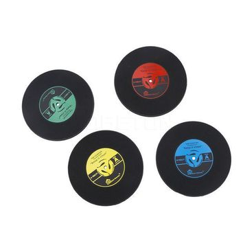 ICIK272 1Pcs Silicone Retro Vinyl CD Record Coasters Home Table Cup Mat Coffee Placemat Novelty Cup Cushion Drinks Holder Dining Decor