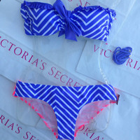 New Sexy Victoria's Secret Chevron Bikini Belle Bandeau Set L top, M bottom