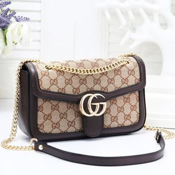GUCCI Fashion New More Letter Leather Leisure Shoulder Bag Women