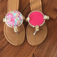 "Simply Southern ""Jungle"" Reversible Flip Flop Sandals -Pink"