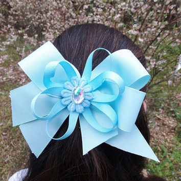 Girls Hair Bow, Light blue, Stacked, big,  rhinestone