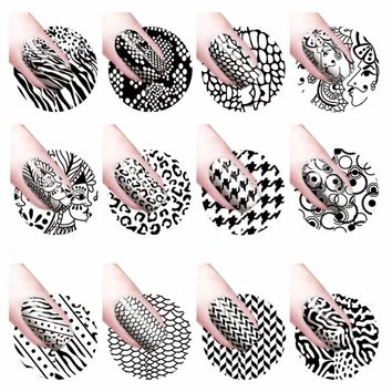 YZWLE 1 Sheet Water Transfer Nail Art Sticker Decal Foil Adhesive Nails Tips Black Leopard Designs Nail Decoration Makeup Tools
