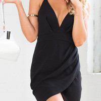 Black Deep V-Neckline Strappy Cut-out Back Wrap Bodycon Mini Dress