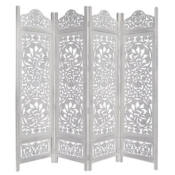 Handcrafted Wooden 4 Panel Room Divider Screen Featuring Lotus Pattern-Reversible, Distressed White