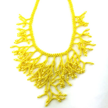 Coral Style Yellow Necklace. Gift For Her. Gift For Women.Beadwork