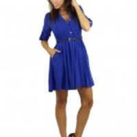 Royal Blue Chiffon Dress With Belt