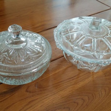Set of 2 Glass Crystal Candy DIsh Jewelry Dish Upcycle Repurpose Reuse