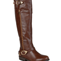 Journee Collection Brown Barb Wide-Calf Riding Boot | zulily