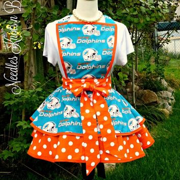 Miami Dolphins Apron, Womens Dolphins Football Apron, Football Team Aprons