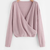 Purple Sweater Casual Pullover Women Wrap Long Sleeve Jumper Spring Fall New V Neck Basic Brief Sweater