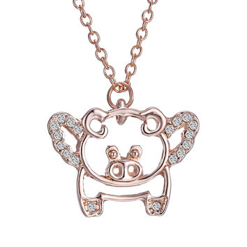 Animal Pendants For Women For Gift New Fashion Lovely rose gold crystal animal pig Necklace & Pendant