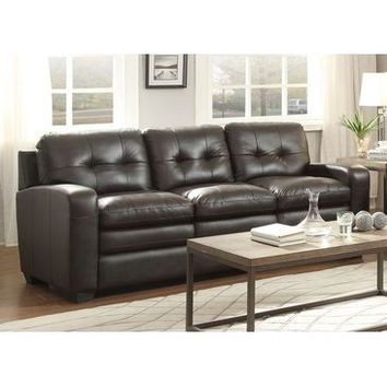 Homelegance Urich Sofa In Chocolate Genuine Top Grain Leather Match