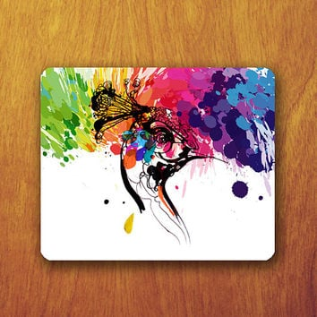 Peacock Drawing Mouse Pad Colorful Splash Pattern Printed Mousepad Mat Computer or Office Work Station Decor Personalized Custom Gift