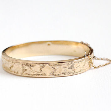 Antique Rosy Yellow Gold Filled Edwardian Era Scrolling Leaves Hinged Bangle - Vintage 1910s Leaf Vine 6 Inch Petite Bracelet Jewelry
