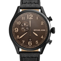 Michael Kors Mens Hanger Black Plated Stainless Steel and Leather Watch