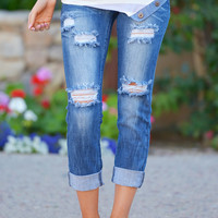 MACHINE Distressed Crop Jeans - Sara Wash