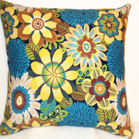 "Pillow Covers 18"" Set of Two - Yellow, Blue, Green Floral Pattern"