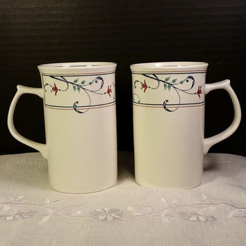 Annette by Mikasa Cappuccino Mugs Pair Mikasa Intaglio Annette Pattern Tall Coffee Mugs Replacement China CAC20 Malaysia Dishwasher Safe