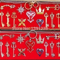 NEW 13pcs/set Kingdom Hearts II KEY BLADE Necklace Pendant+Keyblade+Keychain Weapons Set