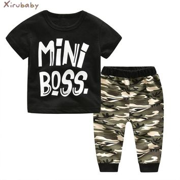 Xirubaby Baby Boy Clothing Sets 2018 Summer Newborn Baby Boy Clothes Infant Letter Tops+Pants 2PCS Camouflage Bebes Outfits Sets