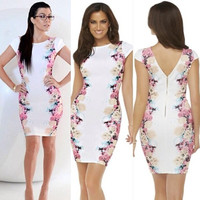 Floral Bodycon Mini Dress S-XXL Plus size
