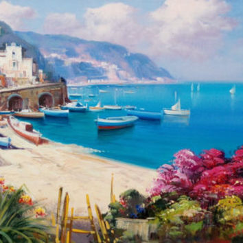 Italian painting Positano seascape landscape Amalfitan coast original oil on canvas of Paolo de Meglio Italy