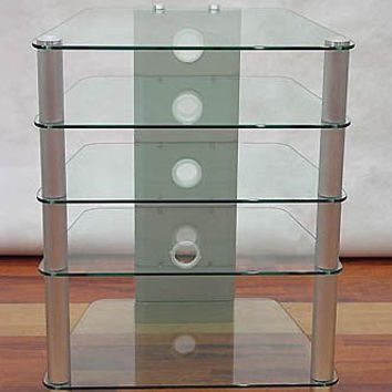 "Glass and Aluminum Audio Rack (Glass and Metal) (34""H x 24""W x 20.75""D)"