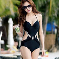 Black Halter Push Up Monokini