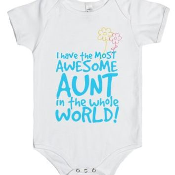 The Most Awesome Aunt in the Whole World!-Unisex White Baby Onesuit 00