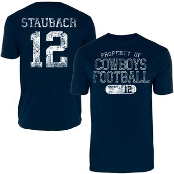 Mens Dallas Cowboys Roger Staubach Navy Blue Archer Name & Number T-Shirt