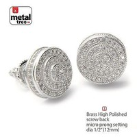 Jewelry Kay style Men's Hip Hop Silver Plated Double Round Screw Back Stud Earrings SE 11171 S
