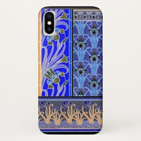 Art nouveau black and purple iris phone case