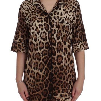 Leopard Silk Stretch Sleepwear Shirt Blouse