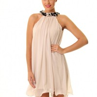 JD333 Halterneck baby doll dress ruffle hem