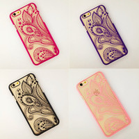 Beautiful Hollow Henna Floral Paisley Mandala Flower Phone Cases Cover For iPhone 6 4.7 6plus 5.5