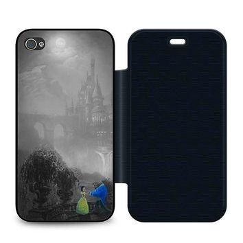 Beauty and the Beast Black Leather Wallet Flip Case iPhone 4 | 4S