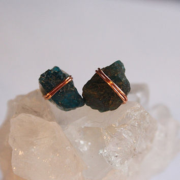 Copper Blue Apatite Crystal Stud Earrings, Bohemian Hippie Yoga jewelry, healing crystals and stones
