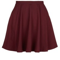 New Look Mobile | Teens Burgundy Jersey Skater Skirt