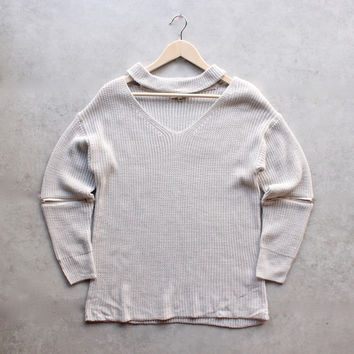material girl choker sweater - grey