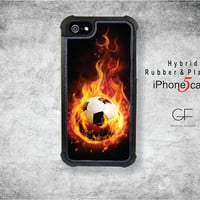 Hybrid 2 piece iPhone 5 case -  Soccer ball with flames, IP-066-H