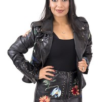 Women's Faux Leather Mini Skirt with Floral Embroidery