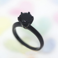 1carat Onyx Stone on Black Plated 925 sterling silver / Propose/Wedding/Anniversary/ engagement/ Unique