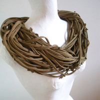 Steampunk Black Brown Striped Infinity Scarf Upcycled Clothing Khaki Striped Chunky Circle Scarf Warm Winter Accessories Gifts Under 75
