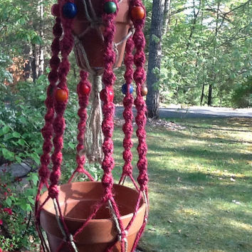 Macrame Plant Hanger, double hanger, 4 ply jute in magenta, green and natural, colorful wooden beads, two tier unique hanger