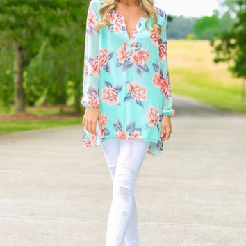 Sunset And Vine Mint Floral Print Tunic Dress