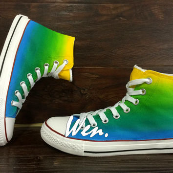 WEN Original Design Christmas Gifts Gradient Green Converse Gradient Shoes Hand Painted Shoes,Custom Shoes Gradient Sneakers Color Canvas